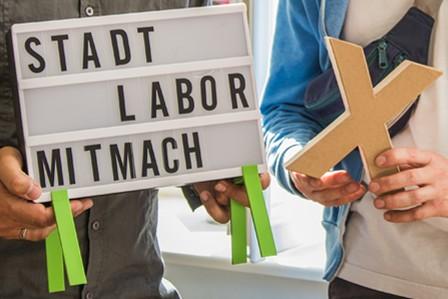 """Schriftzug """"Stadtlabor Mitmach_X"""""""